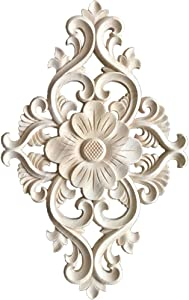 WINGOFFLY Wood Carved Onlay Corner Unpainted Applique Frame for Decoration Home Furniture Doors Windows 2 Pics(8.4
