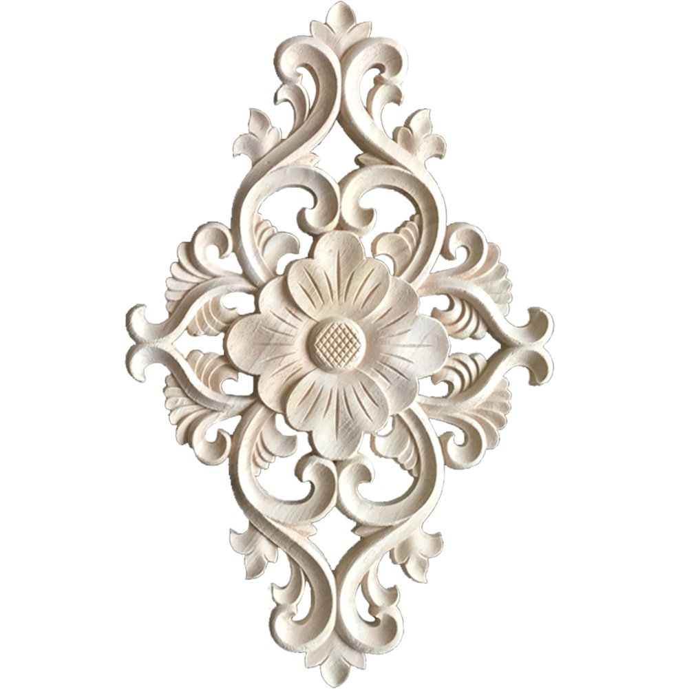 WINGOFFLY Wood Carved Onlay Corner Unpainted Applique Frame for Decoration Home Furniture Doors Windows 2 Pics(14.4''x8.8''x0.4'')