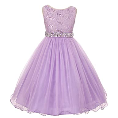 hot sales genuine shoes nice shoes Amazon.com: My Best Kids Big Girls Lilac Lace Crystal Tulle ...