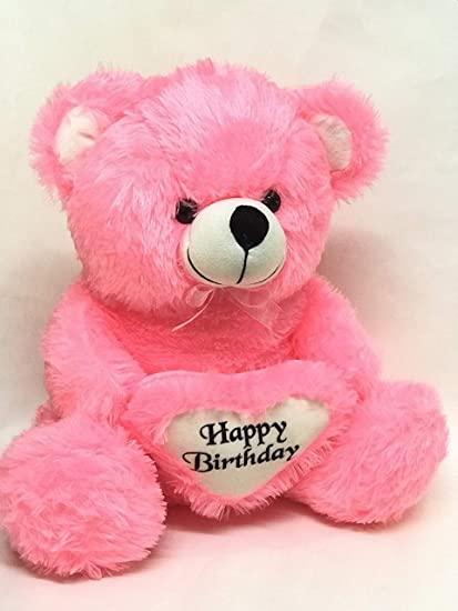 Maykis 2 Feet Happy Birthday Gift Soft Toy Teddy Bear with Heart (Pink)