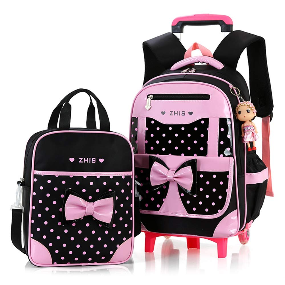 2-wheels,One-Size Rolling Backpack Girl Trolley Case Child School Bag Students Suitcase Luggage
