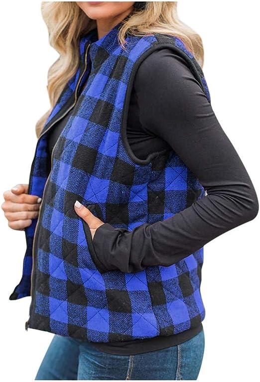 ReachMe Womens Buffalo Plaid Zip Up Vest with Zippered Pockets Winter Sleeveless Jacket Coat