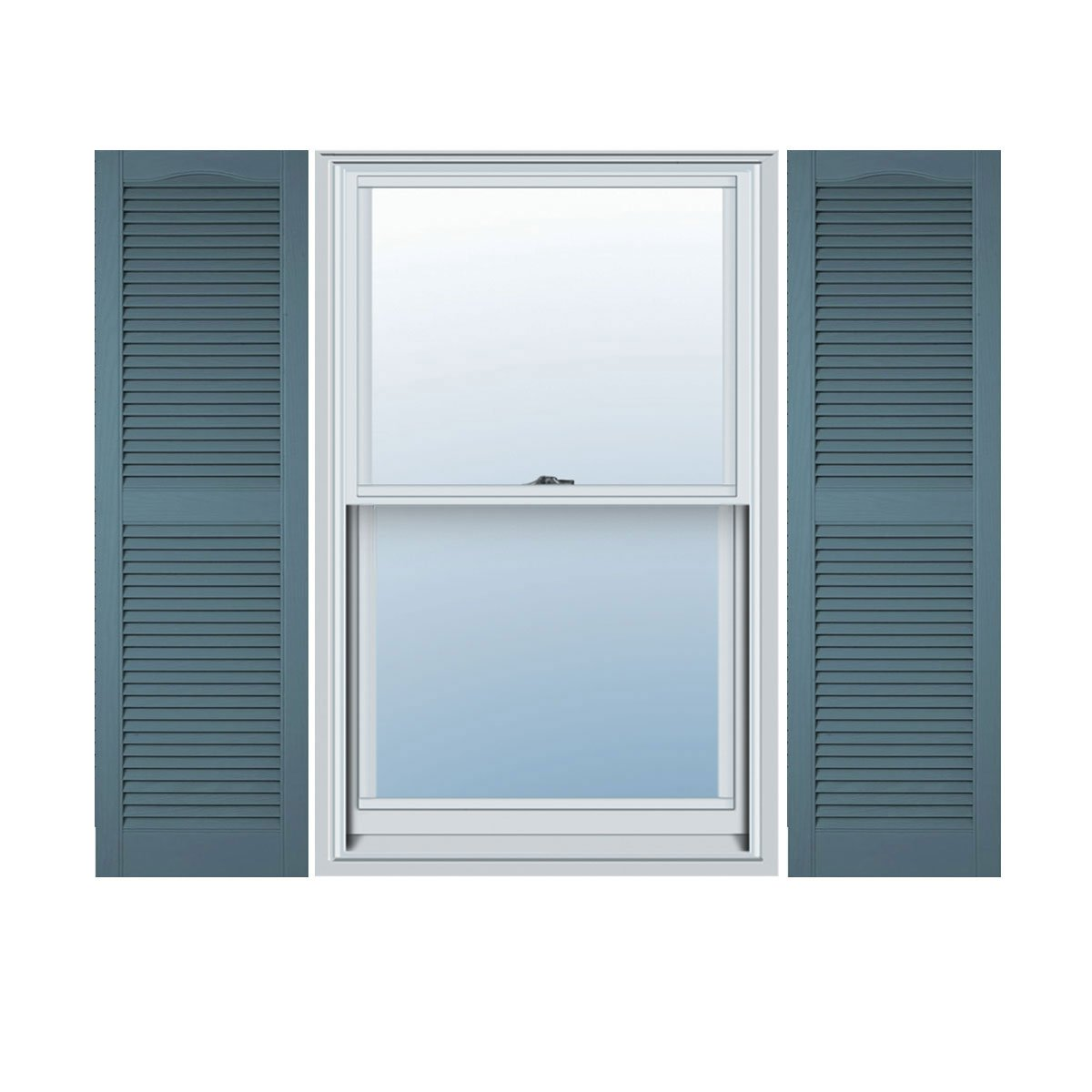 Mid-America 00 01 1267004 12'' x 67'' Wedgewood Blue Louvered Vinyl Exterior Shutters (Pair)