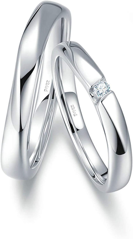 AnazoZ Anillos 2PCS Anillos Compromiso Mujer Hombre Oro Blanco 18K Anillos Redondo Pulido con Diamante Blanco 0.02ct Plata
