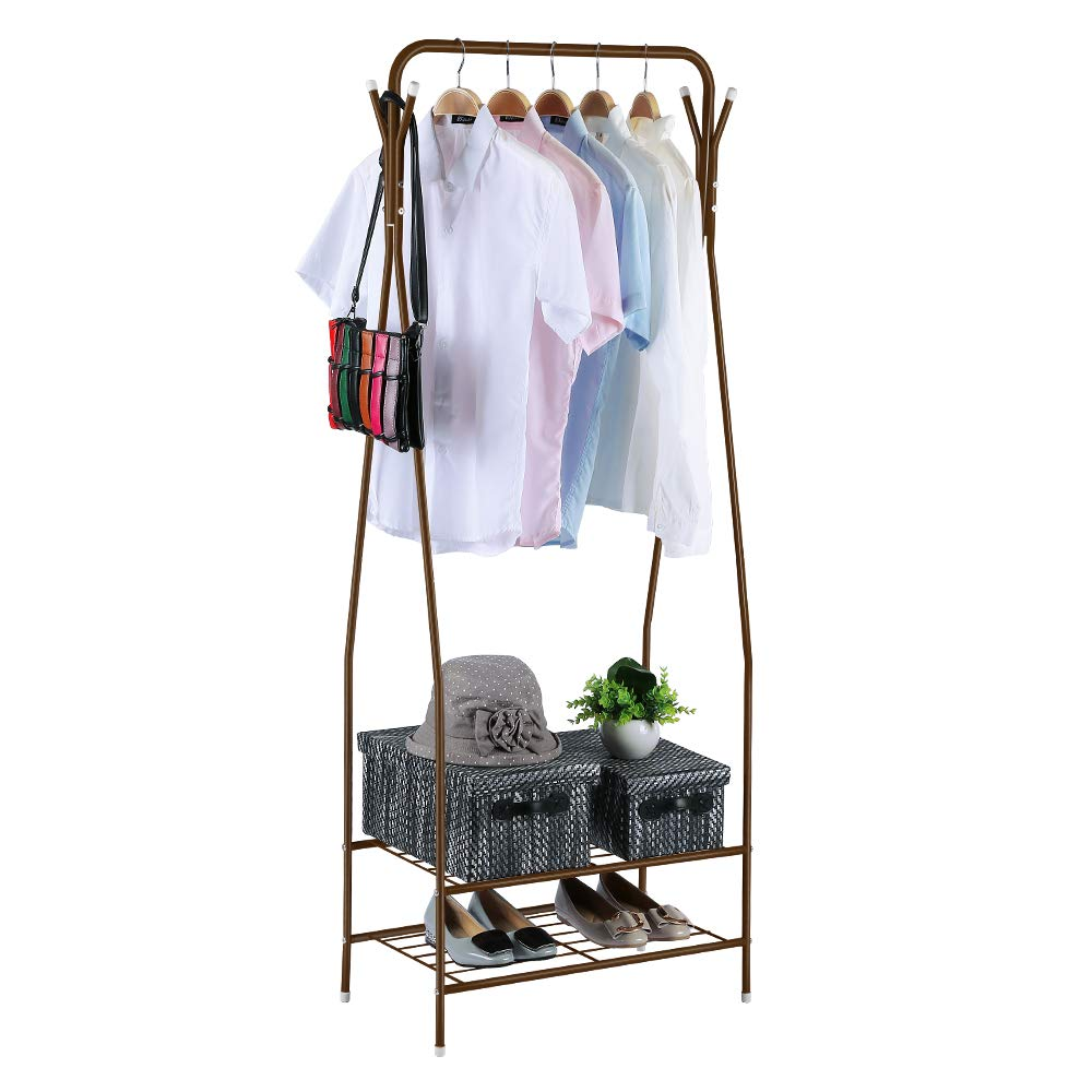 HOME BI Clothing Garment Rack, 2-Tier Metal Shelf Coat Organizer Storage Shelving Unit Entryway Storage Stand with Hanging Rod and 4 Hooks for Clothes, Bags,(Brown)