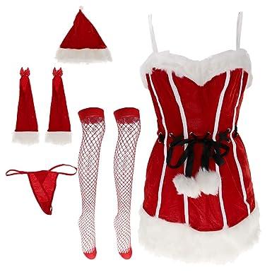 Mottoparty Weihnachtsfeier.Magideal 5 Teilig Damen Bodys Weihnachten Dessous Set Miss Santa