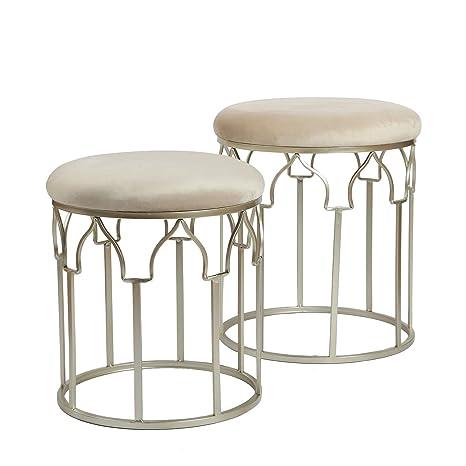 Magnificent Joveco Vanity Stool Upholstered Footrest 2 Piece Begie Evergreenethics Interior Chair Design Evergreenethicsorg