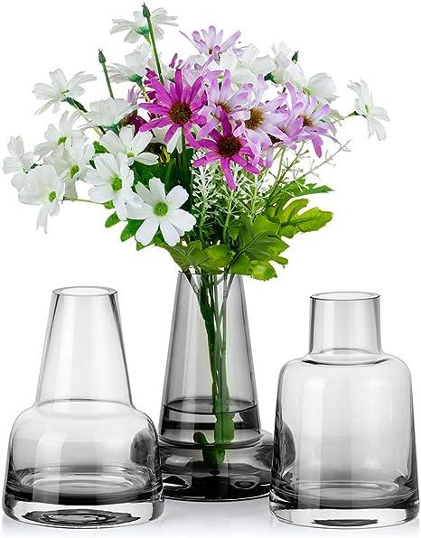 Amazon Com 3pcs Glass Cylinder Vases Grey For Centerpieces Floral Contemporary Castle Shape Flower Bud Arrangement Vases For Dining Table Home Events Decor Home Kitchen