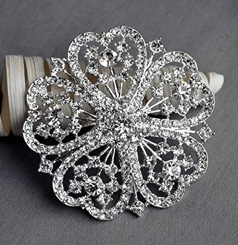 Rhinestone Brooch Embellishment Blue Crystal Wedding Brooch Bouquet Cake Invitation Hair Comb Shoe Clip DIY Supplies BR407
