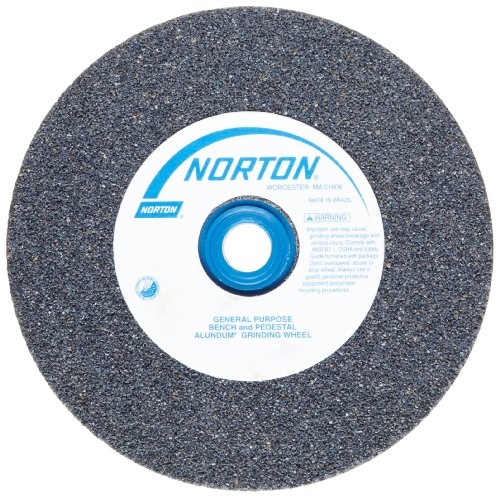 Norton Gemini Bench and Pedestal Abrasive Wheel, Type 01 Straight, Aluminum Oxide, 1