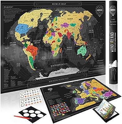Wond3rland Premium Mapamundi Para Rascar + EXTRA Mapa de Europa ...