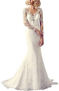 GEORGE BRIDE Sexy vestito chiaroveggente con maniche lunghe abito da sposa  di perline applique pizzo 523cb236d86