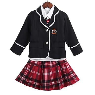 École Style Dpois Jupe Britanniques Manches Performance Carreaux Fille À Costume Scolaire Chemise Uniforme Enfant Longues Avec Cravate Manteau KuF3lT1Jc5