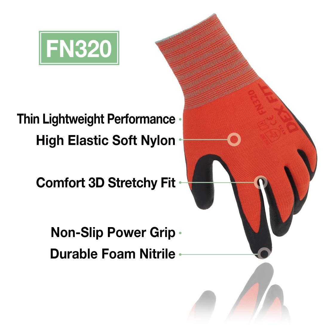 Comfort 3D Stretchy Fit Haut /élastique DEX FIT Gants de jardinage FN320 Rouge Grand 3 Pairs Mince et l/éger Mousse Nitrile Durable Lavable /à la machine Power Grip