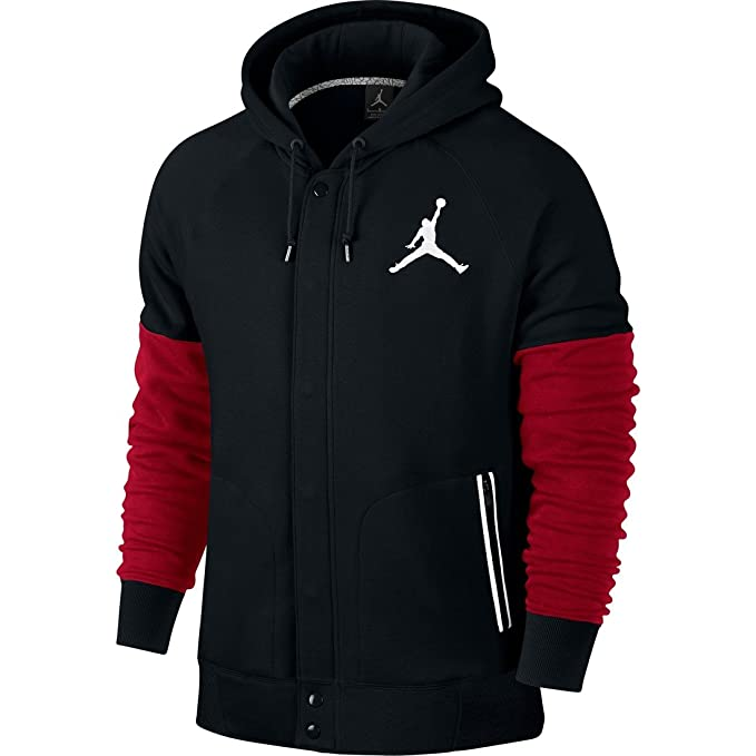 cb5e1a3c6a0f69 Nike Mens Jordan Varsity Hooded Sweatshirt Black Gym Red White 689020-011  Size