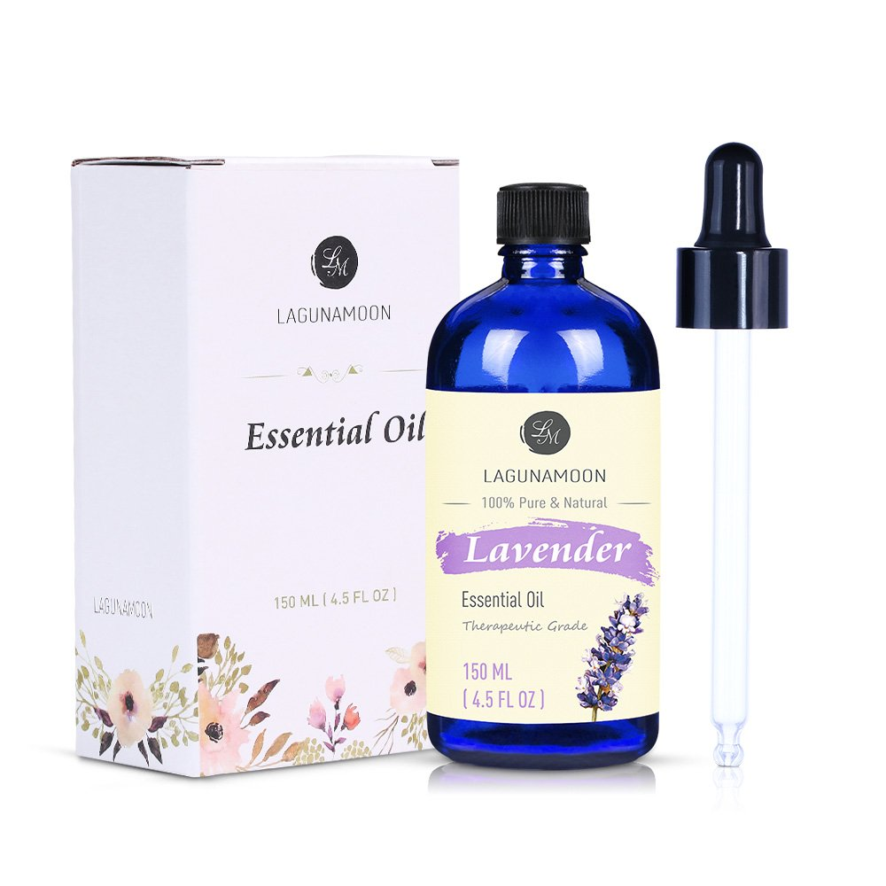Lagunamoon Lavender Essential Oil, 150ml Therapeutic Grade Aromatherapy Oils, Pure Lavender Oil for diffusers, massage, cleaning products 4.5 fl oz LTD.