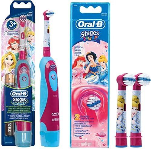 SPAR SET: 1 Braun Oral B Stages Power Kids cls Batterie Zahnbürste Kinder DB4.510.K Disney Prinzessin Cinderella + 2er Stages Power Aufsteckbürsten
