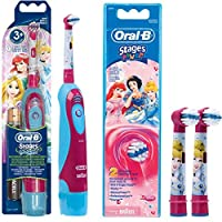 Juego de batería: 1 braun Oral-B Stages Power Kids DB4.510.K – Cepillo de dientes eléctrico para niños (con temporizador Disney Princesa Cenicienta + 2 cabezales Stages Power Princess
