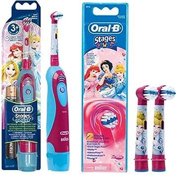 SPAR-SET: Oral-B 1 Braun Stages Power Kids batería-Zahnbürste CLS Kinder DB4.510.K Disney Princess Cinderella + 2er etapas de potencia cabezas del ...