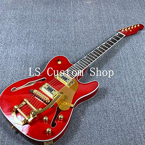 Semi-Hollow Body TL Electric Guitar Bigsby Bridge Gold Hardware (Red)