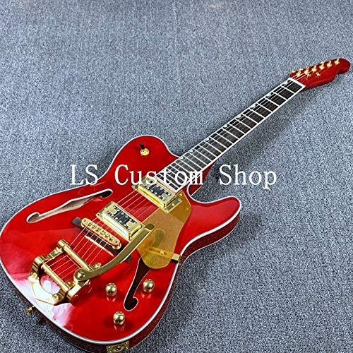 Semi-Hollow Body TL Electric Guitar Bigsby Bridge Gold Hardware (Red)