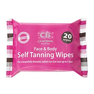 Cocoa Brown Self Tanning Wipes - Sunless Tanner Wipes for Face and Body - Long-Lasting Natural Looking Tan Wipes (20 Wipes)
