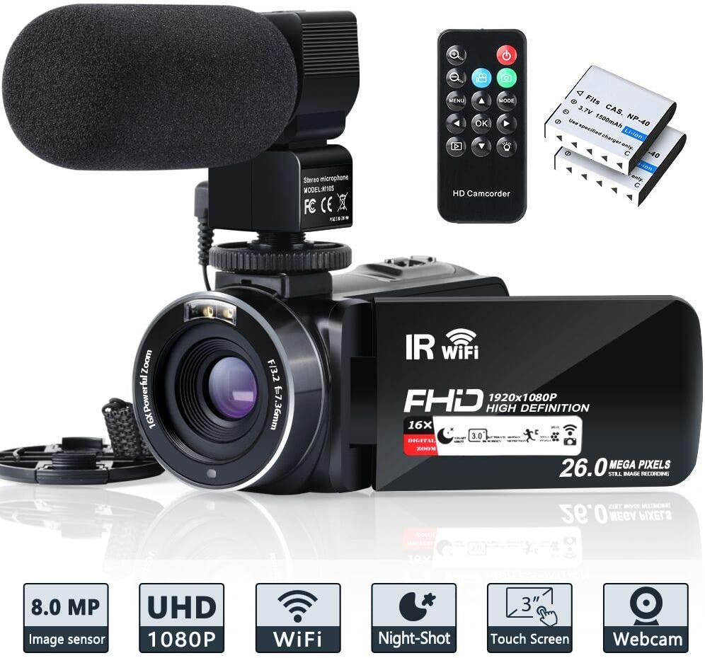 Video Camera Camcorder WiFi IR Night Vision FHD 1080P 30FPS YouTube Vlogging Camera Recorder 26MP 3.0'' Touch Screen 16X Digital Zoom Camcorder with Microphone,Remote and 2 Batteries