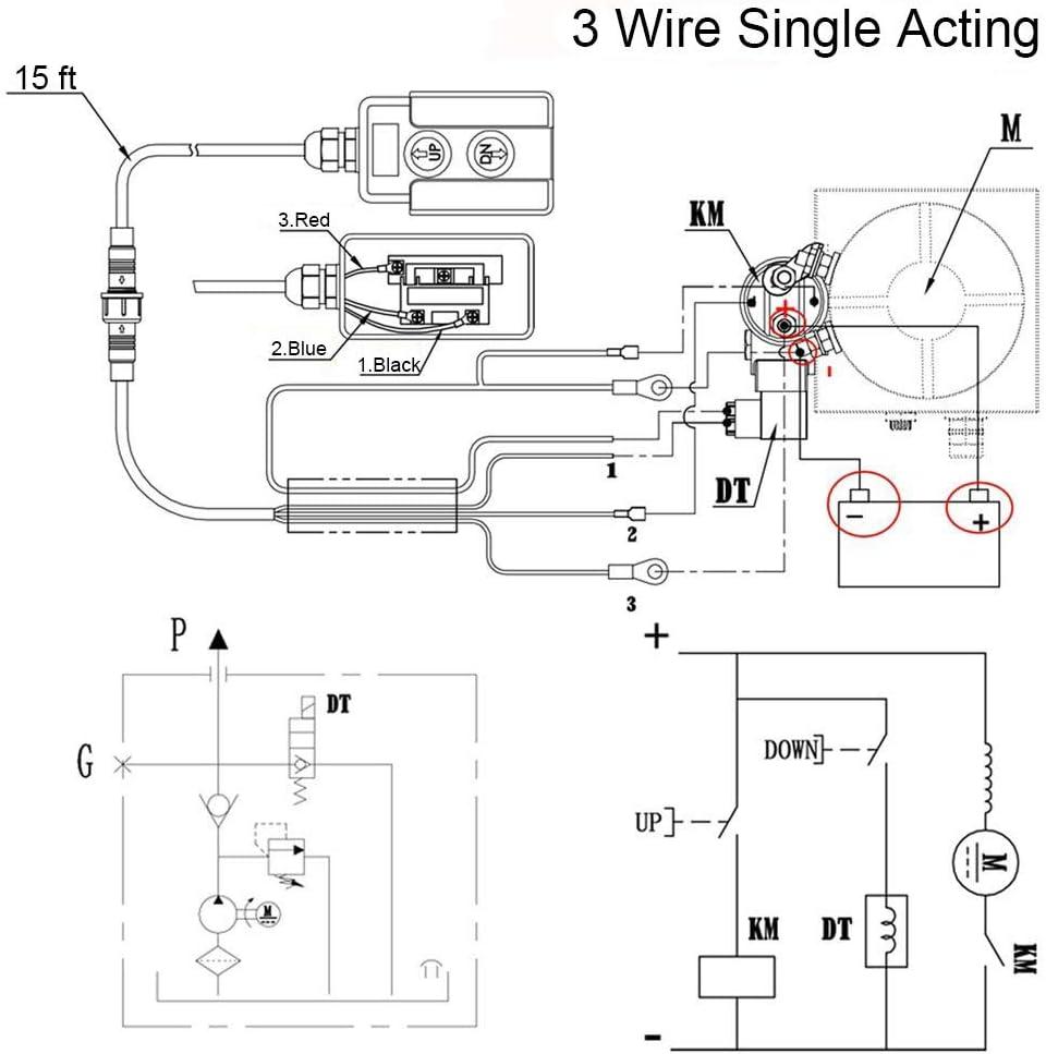 Amazon.com: USLICCX 3 Wires Single Acting Remote Controller Switch Hydraulic  Press Pump Unit Truck Dump Trailer 12V DC: Home Improvement | Hyd 12v Single Coil Wiring Diagram |  | Amazon.com