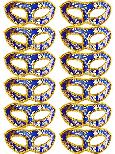 TOODOO 12 Pieces Half Mardi Gras Masquerade Mask Venetian Masks Set for Carnival Prom Ball Fancy Dress Party Supplies (Style 9)