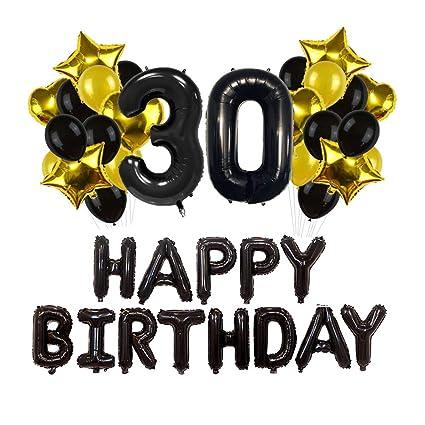 Toyvian 30 cumpleaños Decoraciones - Happy Birthday Banner ...