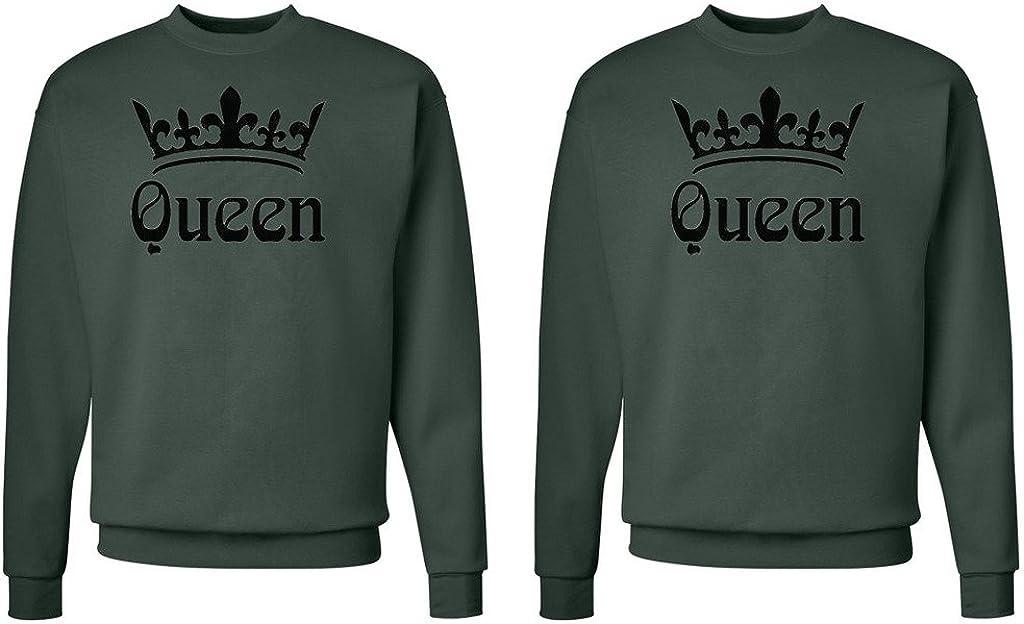 Queen and Queen Crowns Queen Shirt #1: Medium//Queen Shirt #2: Small Deep Forest FASCIINO LGBT Matching Gay Pride Hers /& Hers Lesbian Couple Crewneck Sweatshirt Set