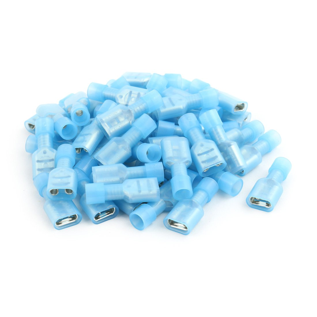 uxcell 50Pcs 16-14AWG Wire Insulated 6.3mm Female Spade Crimp Terminal Connector Blue a17050300ux0410