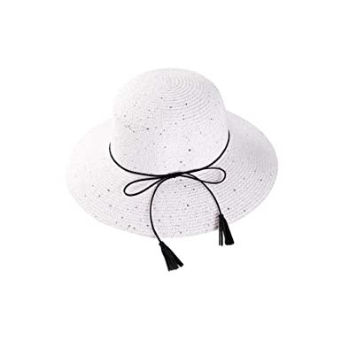 3aeb13b77 Image Unavailable. Image not available for. Colour: iBaste Casual Summer  Beach Hats Rope Bucket Solid Cord Paper Straw Sun Hat Sequins Foldable Ride