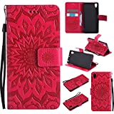 For Sony Xperia X Case [Red],Cozy Hut [Wallet Case] Magnetic Flip Book Style Cover Case ,High Quality Classic New design Sunflower Pattern Design Premium PU Leather Folding Wallet Case With [Lanyard Strap] and [Credit Card Slots] Stand Function Folio Protective Holder Perfect Fit For Sony Xperia X/F5122 5,0 inch - red