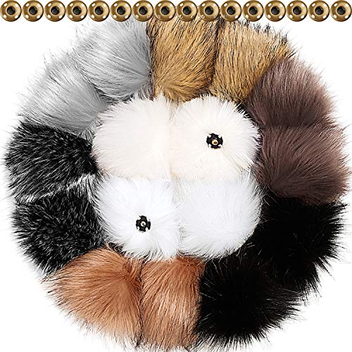 Real Pom Fur Pom (Tatuo 16 Pieces DIY Faux Fur Pom Poms Ball with Press Button Removable Fluffy Pompom for Knitting Hats Shoes Scarves Bag Accessories (Popular Mix Colors))