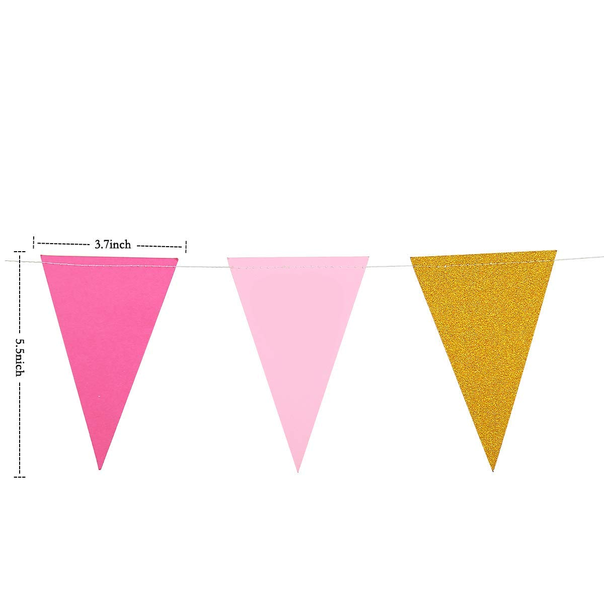 Gold+Pink+Rose 30 Feet Vintage Glitter Paper Triangle Flag Bunting Pennant Banner for Wedding Anniversary Engagement Girls Birthday Party Decorations