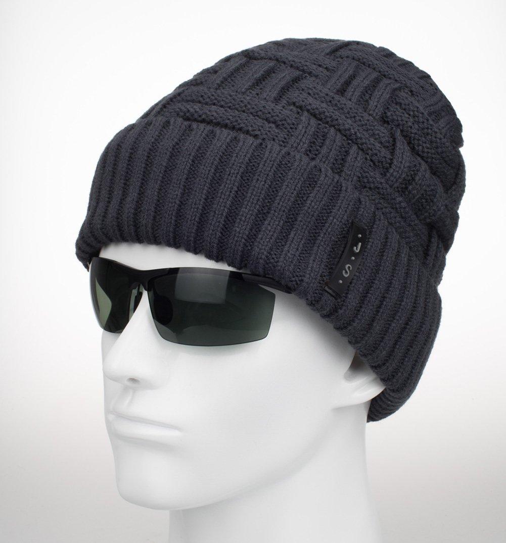 spikerking mens winter knitting wool warm hat daily slouchy beanie skull cap grey amazon On warm skull cap