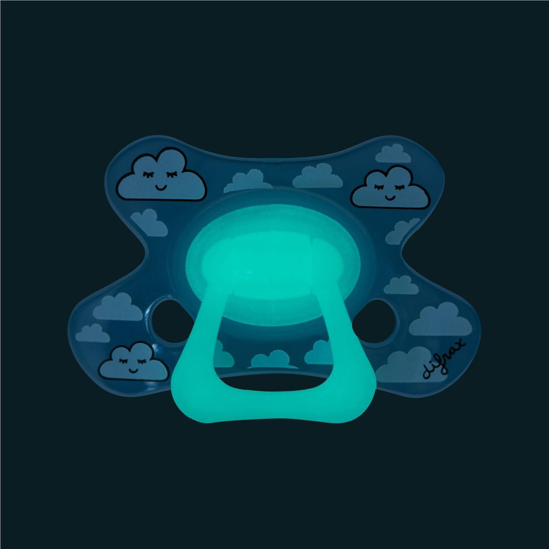 Difrax Natural Sucette 18-36 Mois Lot de 4 Sucettes avec T/étine Silicone Facilement /À Accepter un Apport Optimal dAir Phosphorescente Nuit Multicolore