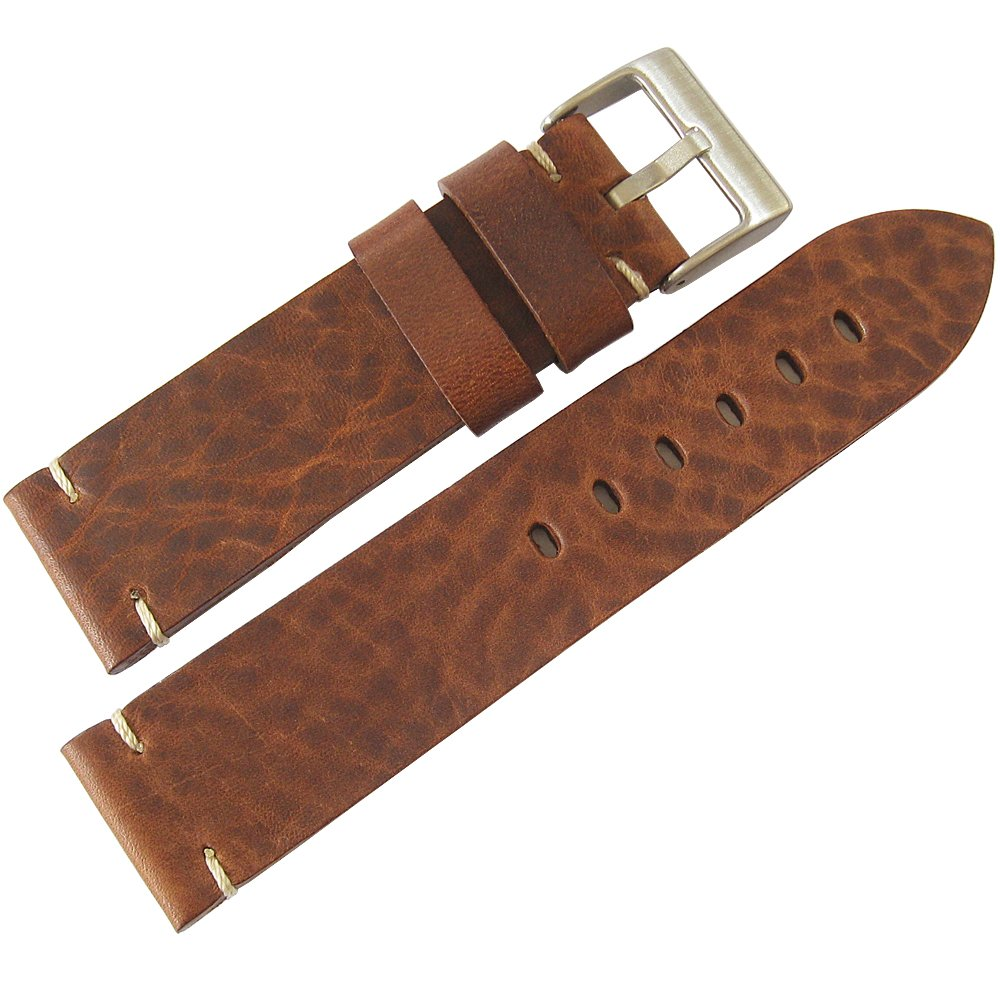 ColaReb 22mm Siena Brown Distressed Leather Mens Watch Strap Made in Italy