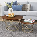 New Geometric Nesting Coffee Tables in Walnut Finish with Gold Frame