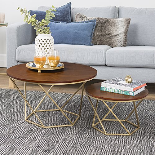 New Geometric Nesting Coffee Tables in Walnut Finish with Gold - Geometric Gold Frame
