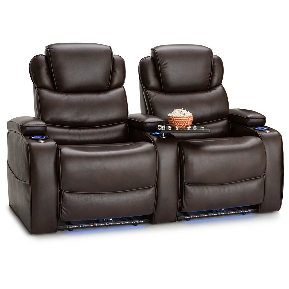 Barcalounger Columbia Leather Gel Home Theater Seating Chairs Power Recline - (Row of 2, Brown)