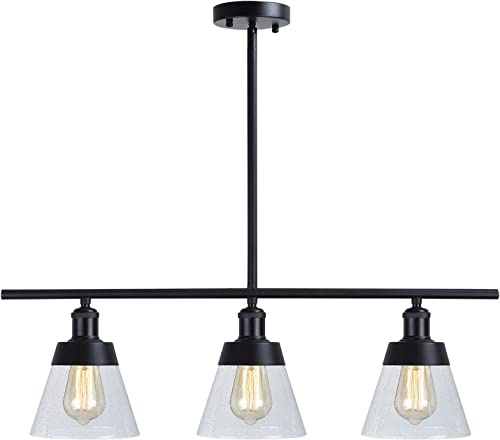 Industrial Glass Kitchen Island Lighting, Clear Seeded Glass Linear Chandelier, 3 Lights Adjustable Rod Rustic Pendant Light Fixture for Kitchen Island Dining Room Farmhouse, Black