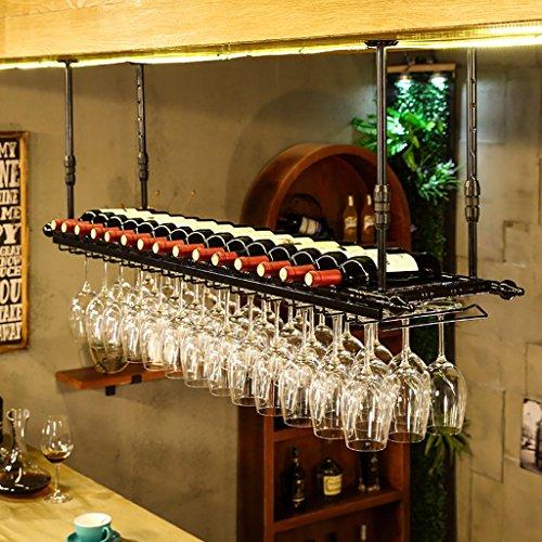 Hanging Red Wine Stemware Racks, Ceiling Mounted Hanging Wine Bottle Holder Metal Goblet Wine Glass Rack - Various (Color : Black,) (Color : A, Size : 12030cm)