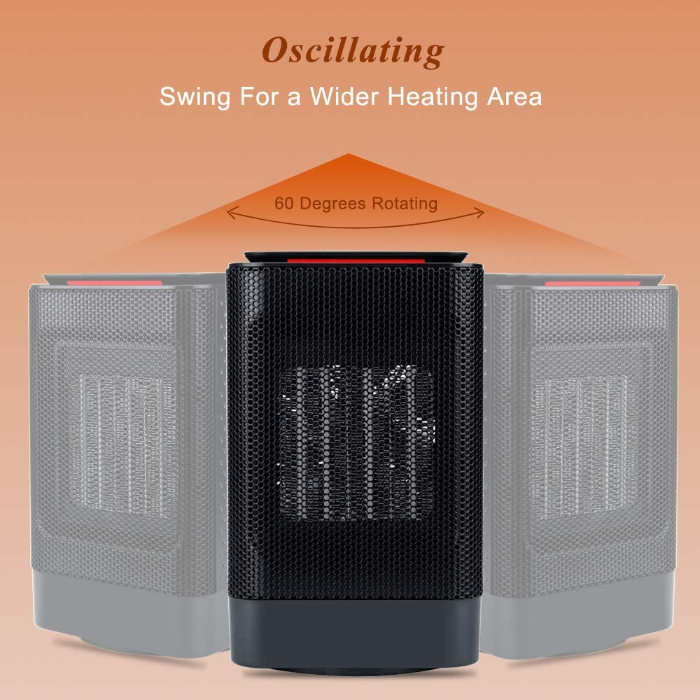 iBazal Ceramic Space Heater, Portable Oscillating Electric Heater with Overheating Protection Adjustable Heating Carrying Handle, 3 Wind Modes, Quiet, Perfect for Home Office Use 950w