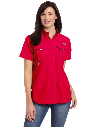 Columbia Womens Bahama Short Sleeve Shirt, X-Small, Bright Rose
