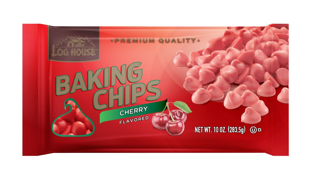 Log House Cherry Flavored Baking Morsels Chips 10 Oz Bag (Pack of 2)