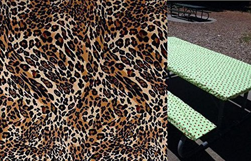 Custom Stay Put Fitted 6 Ft Picnic, RV or Camping Bench 3 Piece, Table and 2 bench set. No more hot or dirty seats Animal Print
