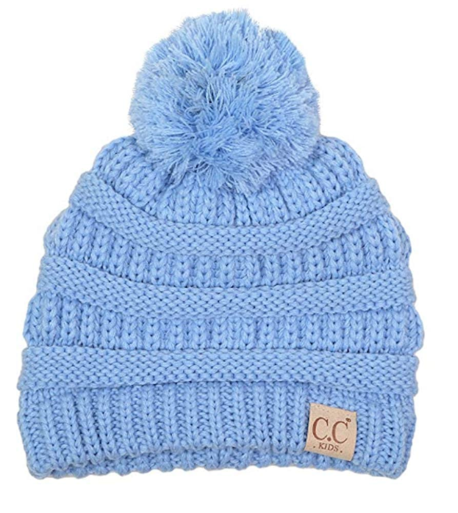 Motobear CC Women & Kids CC Beanie Soft Stretch Cable Knit Pom Pom C.C Beanie Hat Cap