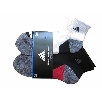 6 Pair Mens Adidas Quarter Crew Cushioned Socks (Black/Red/Gray/White): Clothing